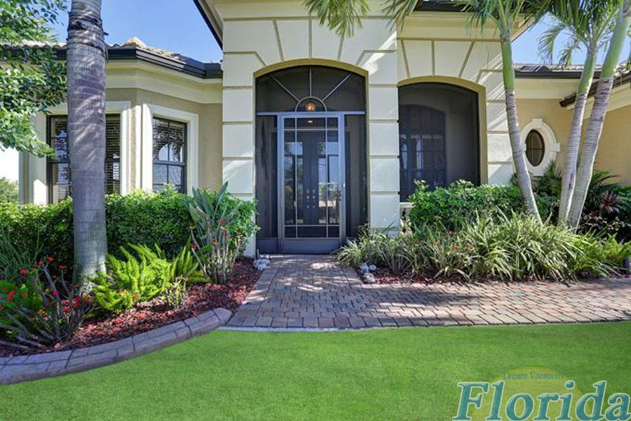 The home is located across from Cape Harbour in SW Cape Coral