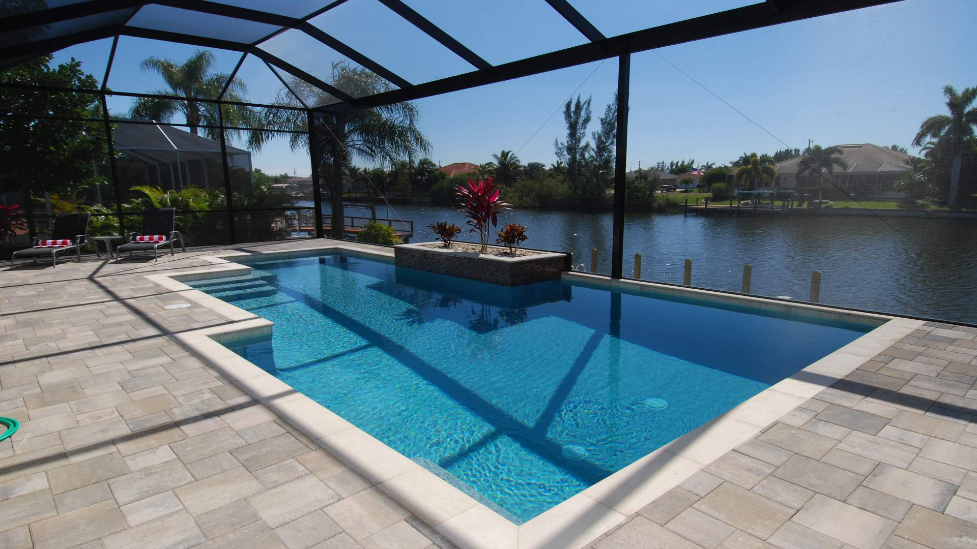 The pool was designed with contemporary clean lines