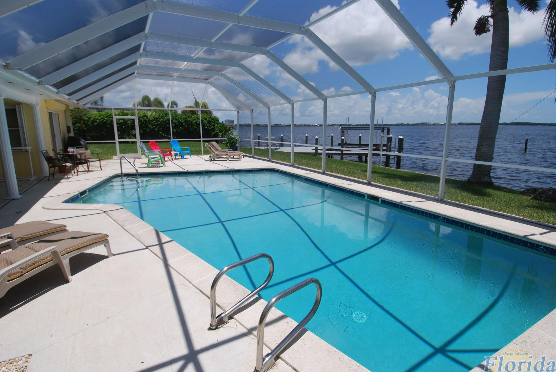 large pool with gorgeous view over the Caloosahatchee River