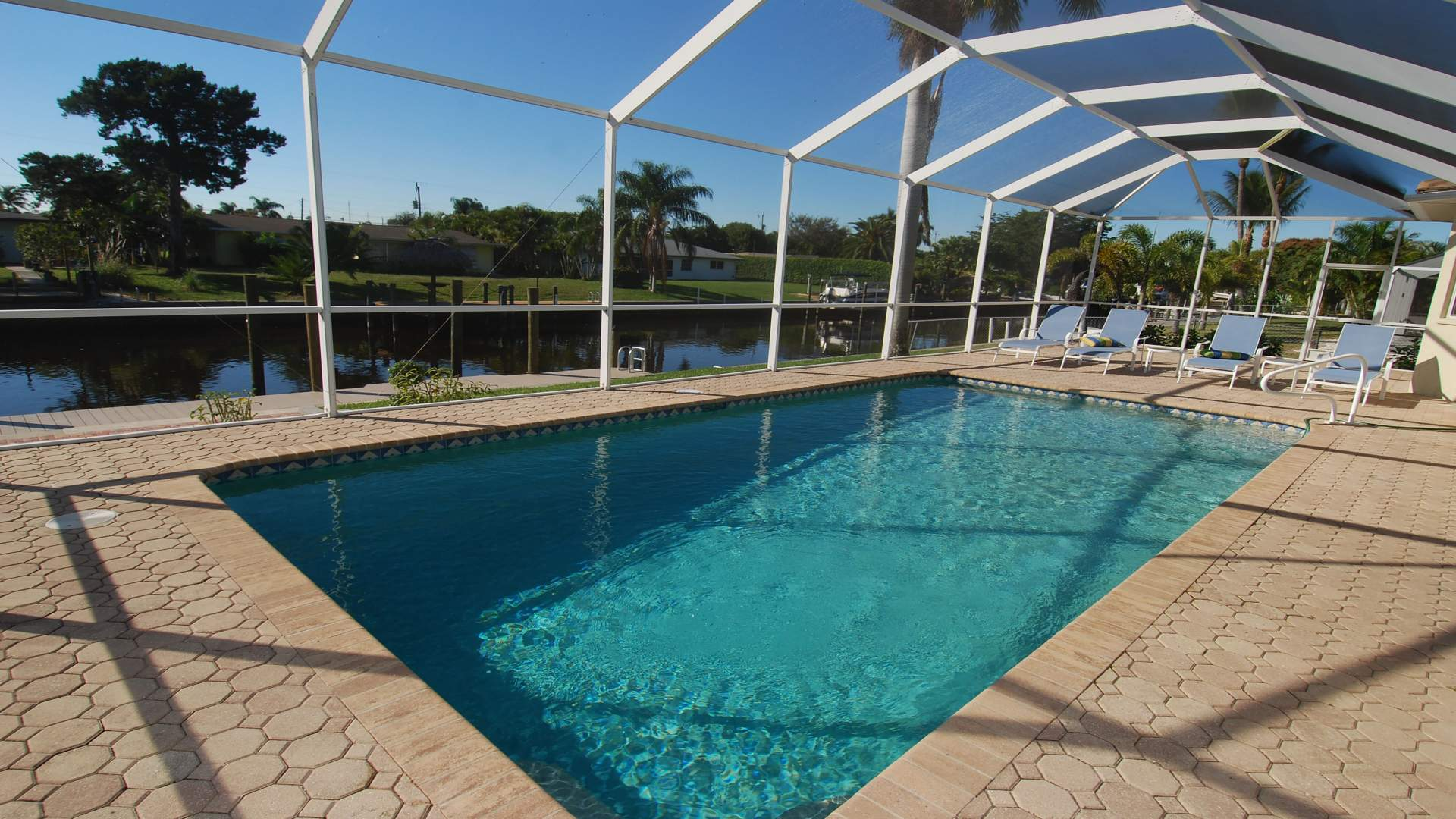 The electrically heated pool can be enjoyed throughout the year