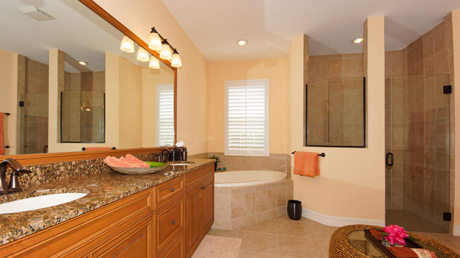 Double sink, tub and walk-in shower are offered in the master bath