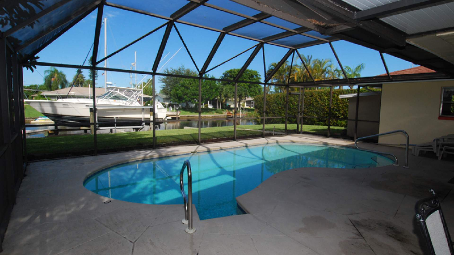 The pool can be electrically heated and enjoyed throughout the year