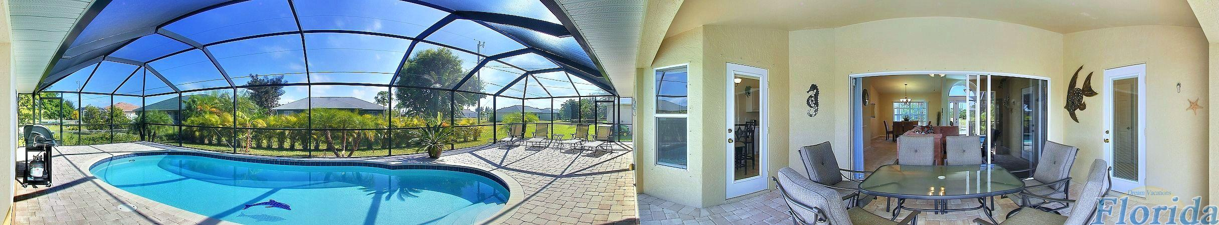Wide angle view of pool and patio